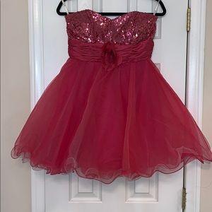 Pink tulle mini dress